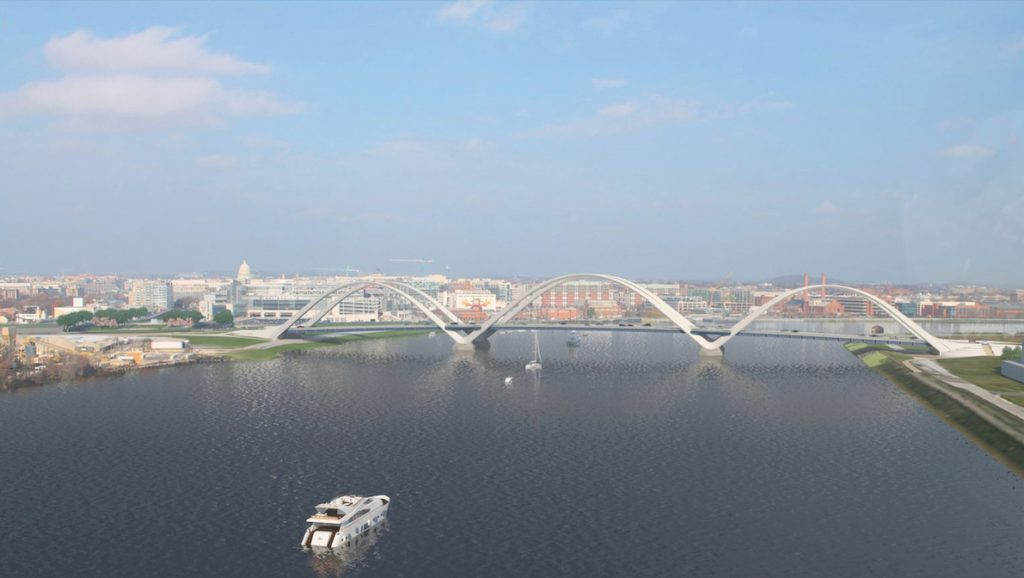 Rendering of completed Frederick Douglass Memorial Bridge