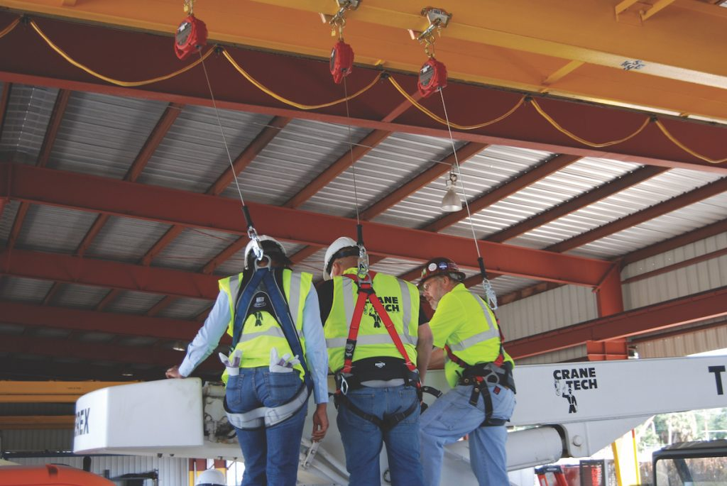 Fall protection during inspecting procedures.