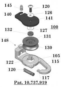 Figure 1: Exploded view of a device for hoisting and lowering a load.