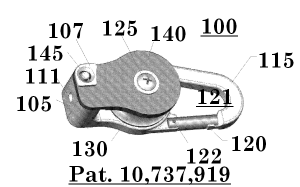Figure 4: Drawing depicting a perspective view of the device for hoisting and lowering a load wherein the front plate is shown in closed position.