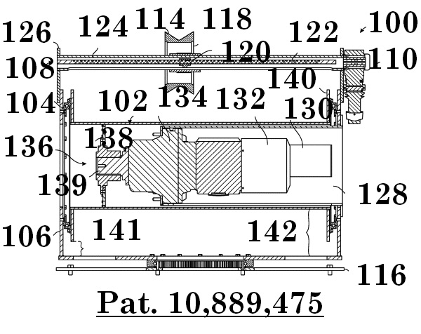 Figure 17: Longitudinal cross section schematic illustrating the motor assembly and drive means disposed within the winch drum.